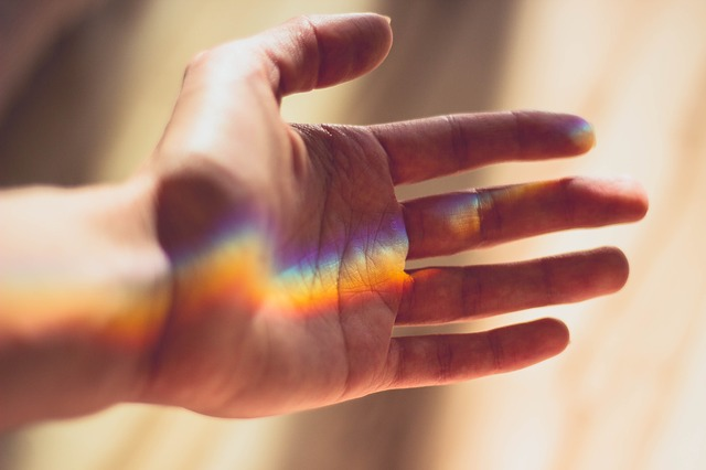 a light ray spectrum on a hand